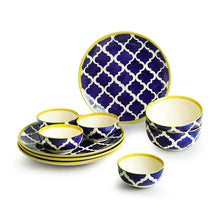 Load image into Gallery viewer, 'Moroccan Dining' Handpainted Ceramic Dinner Plates With Katoris & Serving Bowls (10 Pieces, Serving for 4)