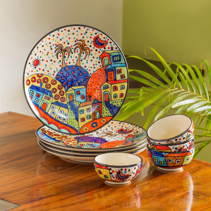 'Hut Dining' Handpainted Ceramic Dinner Plates With Katoris (8 Pieces, Serving for 4)