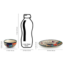 Load image into Gallery viewer, 'Hut Dining' Handpainted Ceramic Dinner Plates With Katoris (8 Pieces, Serving for 4)