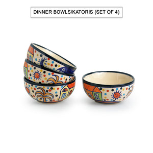 'Hut Dining' Handpainted Ceramic Dinner Plates With Katoris & Serving Bowls (10 Pieces, Serving for 4)