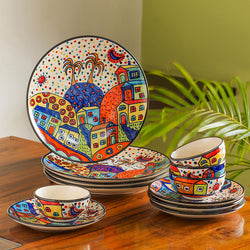 'Hut Dining' Handpainted Ceramic Dinner & Quarter Plates With Katoris (12 Pieces, Serving for 4)