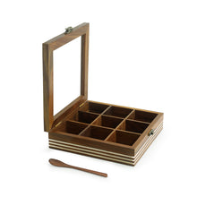 Load image into Gallery viewer, Hand Engraved Square Spice Box With Spoon In Sheesham Wood (9 Partitions, 80 ML)