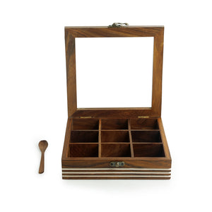 Hand Engraved Square Spice Box With Spoon In Sheesham Wood (9 Partitions, 80 ML)