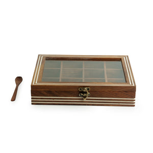 Hand Engraved Rectangular Spice Box With Spoon In Sheesham Wood (12 Partitions, 90 ML)