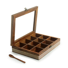 Load image into Gallery viewer, Hand Engraved Rectangular Spice Box With Spoon In Sheesham Wood (12 Partitions, 90 ML)