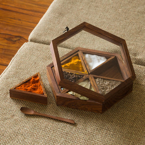 Handcrafted Hexagonal Spice Box With Spoon In Sheesham Wood (6 Containers, 95 ML)
