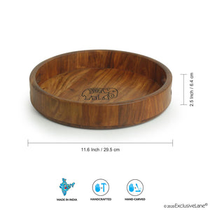 'The Elephant Warriors' Hand Carved Round Serving Tray In Sheesham Wood