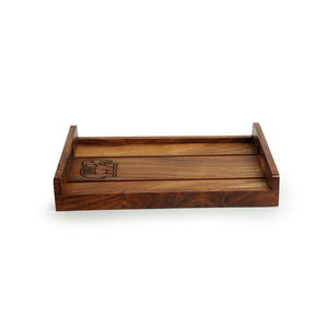 'The Elephant Warriors' Hand Carved Nested Serving Trays In Sheesham Wood (Set of 2)
