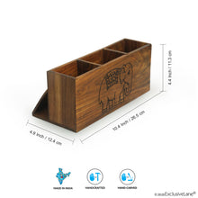 Load image into Gallery viewer, 'The Elephant Warriors' Hand Carved Cutlery Holder In Sheesham Wood (4 Partitions)