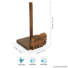 Load image into Gallery viewer, 'The Elephant Warriors' Hand Carved Kitchen Tissue Roll Holder In Sheesham Wood (2 Rolls)
