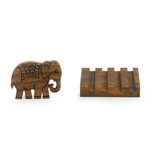 'The Elephant Warriors' Hand Carved Coasters With Stand In Sheesham Wood (Set of 4)