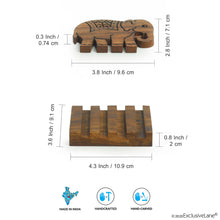 Load image into Gallery viewer, 'The Elephant Warriors' Hand Carved Coasters With Stand In Sheesham Wood (Set of 4)