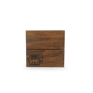 'The Elephant Warriors' Hand Carved Trivet In Sheesham Wood