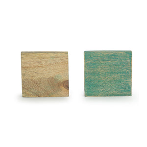 'Seamless Squares' Coasters In Mango Wood (Set of 4, Antique Finish)