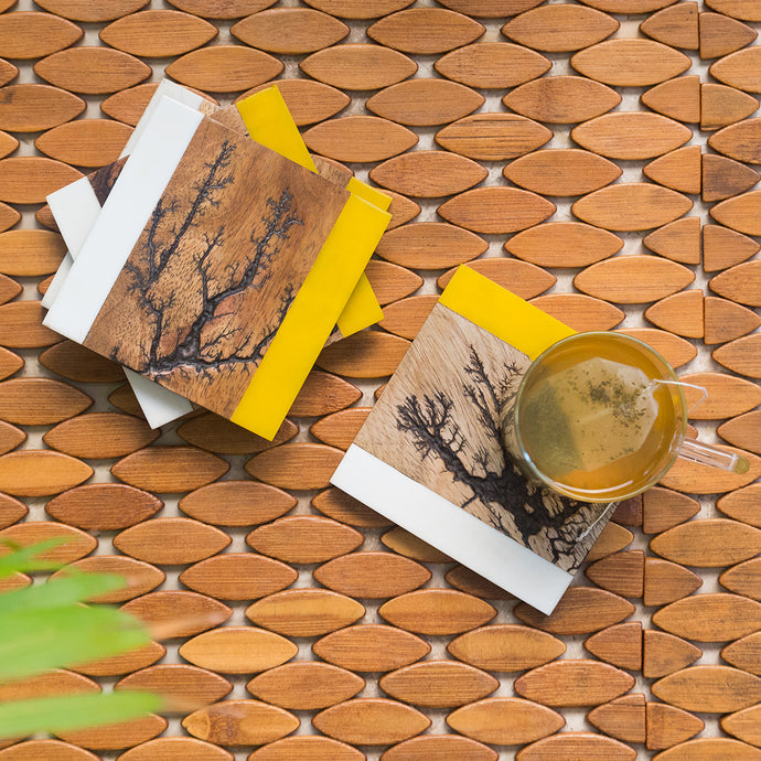 'Branching Squares' Coasters In Resin & Mango Wood (Set of 4, Rustic Finish)