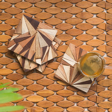 Load image into Gallery viewer, 'Mosaic Triangles' Wooden Coasters (Set of 4, Rustic Finish)