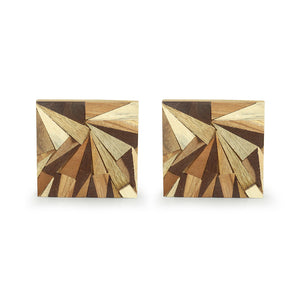 'Mosaic Triangles' Wooden Coasters (Set of 4, Rustic Finish)