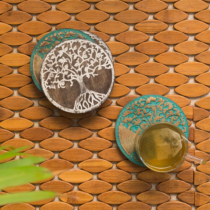 'Tree of Life' Coasters In Mango Wood (Set of 4, Rustic Finish)