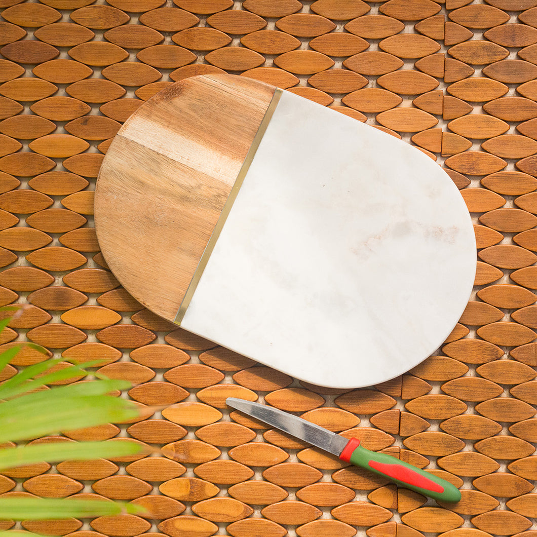 'White Elliptical Brass-Inlayed' Chopping Board Fused With Mango Wood & Marble