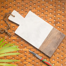 'White Rectangular' Chopping Board Fused With Mango Wood & Marble