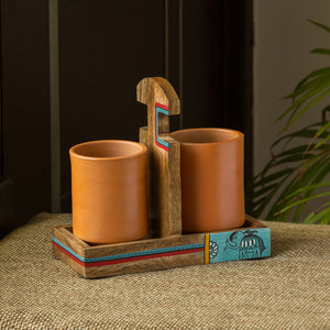 'Earthen Elephant' Handmade Coffee & Tea Glasses Set In Terracotta With Tray (Set of 2, 270 ML)