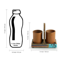 Load image into Gallery viewer, 'Earthen Elephant' Handmade Coffee & Tea Glasses Set In Terracotta With Tray (Set of 2, 270 ML)