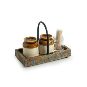 'Old Fashioned Martaban' Salt & Pepper Shaker Set With Toothpick Holder & Tray (110 ML)