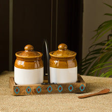Load image into Gallery viewer, 'Old Fashioned Martaban' Ceramic Chutney & Pickle Jar Set With Tray (Set of 2, 225 ML)