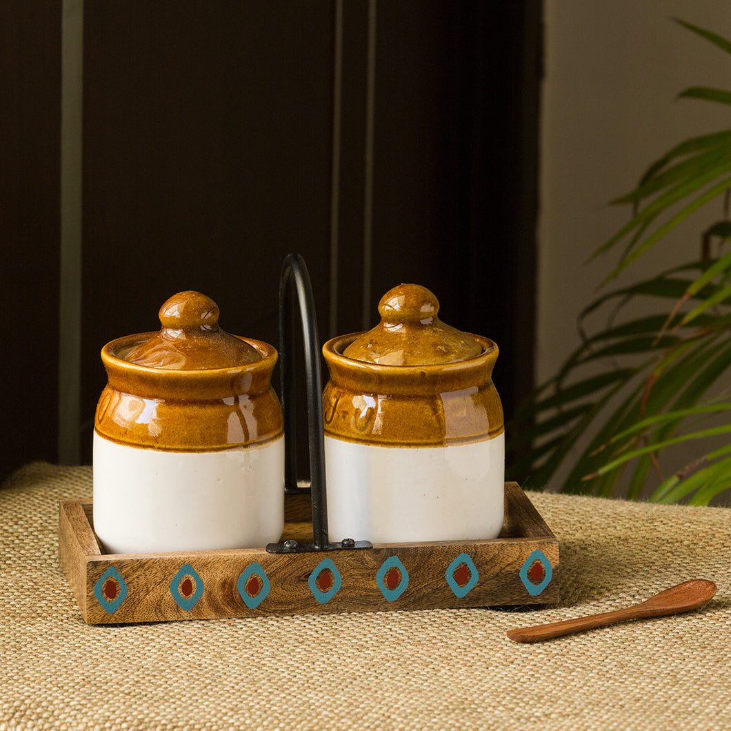 'Old Fashioned Martaban' Ceramic Chutney & Pickle Jar Set With Tray (Set of 2, 225 ML)