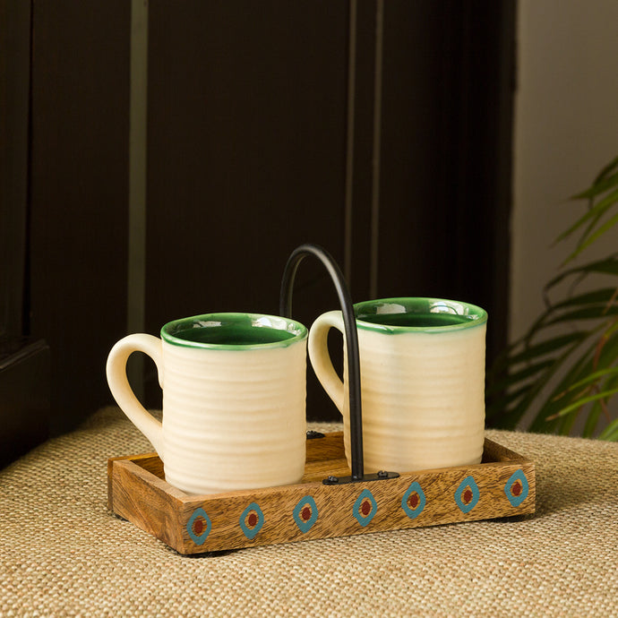 'Jade Translucence' Hand Glazed Studio Pottery Coffee & Tea Cups with Tray (Set of 2, 190 ML)