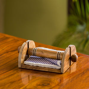 'Nap & Roll' Hand Engraved Napkin Holder In Mango Wood