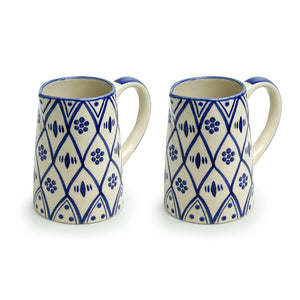 'Moroccan Floral' Hand-painted Studio Pottery Milk & Water Jugs In Ceramic (Set of 2, 700 ML, Microwave Safe)