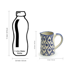 Load image into Gallery viewer, 'Moroccan Floral' Hand-painted Studio Pottery Milk & Water Jugs In Ceramic (Set of 2, 700 ML, Microwave Safe)