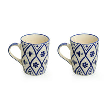 Load image into Gallery viewer, 'Moroccan Floral' Hand-painted Studio Pottery Tea & Coffee Mugs In Ceramic (Set of 2, Microwave Safe)