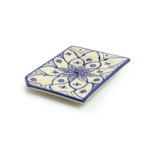 'Moroccan Floral' Hand-painted Studio Pottery Serving Platter In Ceramic (Microwave Safe)