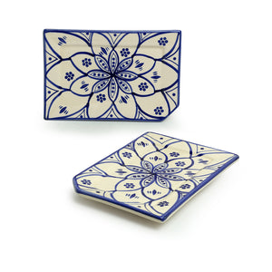 'Moroccan Floral' Hand-painted Studio Pottery Serving Platters In Ceramic (Set of 2, Microwave Safe)