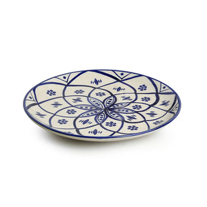 'Moroccan Floral' Hand-painted Studio Pottery Dinner Plates In Ceramic (10 Inch, Set of 2, Microwave Safe)