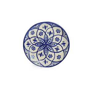 'Moroccan Floral' Hand-painted Studio Pottery Quarter Plates In Ceramic (7 Inch, Set of 2, Microwave Safe)