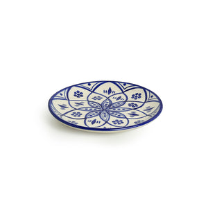 'Moroccan Floral' Hand-painted Studio Pottery Quarter Plates In Ceramic (7 Inch, Set of 6, Microwave Safe)