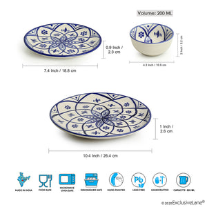 'Moroccan Floral' Hand-painted Studio Pottery Dinner Plates With Quarter Plates & Katoris In Ceramic (12 Pieces, Serving for 4, Microwave Safe)