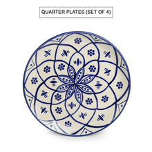 Load image into Gallery viewer, 'Moroccan Floral' Hand-painted Studio Pottery Dinner Plates With Katoris In Ceramic (8 Pieces, Serving for 4, Microwave Safe)