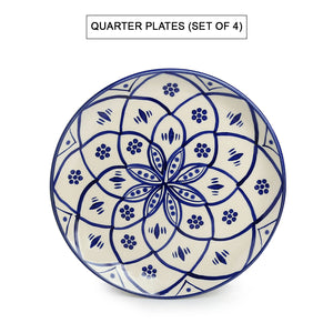 'Moroccan Floral' Hand-painted Studio Pottery Dinner Plates With Katoris In Ceramic (8 Pieces, Serving for 4, Microwave Safe)