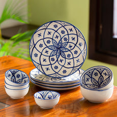 'Moroccan Floral' Hand-painted Studio Pottery Dinner Plates With Serving Bowls & Katoris In Ceramic (10 Pieces, Serving for 4, Microwave Safe)