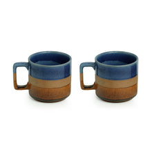 Load image into Gallery viewer, 'Caramel Blues' Hand Glazed Studio Pottery Tea & Coffee Mugs In Ceramic (Set of 2, 360 ML, Microwave Safe)