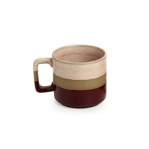 'Crimson Peaches' Hand Glazed Studio Pottery Tea & Coffee Mugs In Ceramic (Set of 2, 361 ML, Microwave Safe)