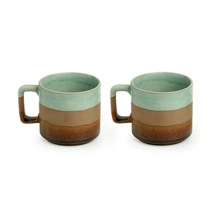 'Mint Chocolate' Hand Glazed Studio Pottery Tea & Coffee Mugs In Ceramic (Set of 2, 362 ML, Microwave Safe)