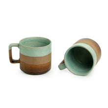 Load image into Gallery viewer, 'Mint Chocolate' Hand Glazed Studio Pottery Tea & Coffee Mugs In Ceramic (Set of 2, 362 ML, Microwave Safe)