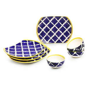 'Moroccan Meals' Hand-painted Ceramic Dinner Plates With Katoris (8 Pieces, Serving for 4, Microwave Safe)