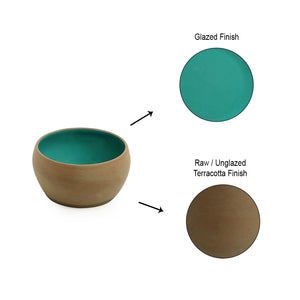 'Earthen Turquoise' Hand Glazed Dining Bowl Katoris In Ceramic (Set of 4, 180 ML, Microwave Safe)