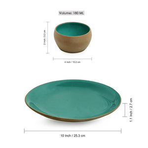 'Earthen Turquoise' Hand Glazed Dinner Plate With Katoris In Ceramic (3 Pieces, Serving for 1, Microwave Safe)